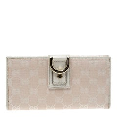 Gucci Blush Pink/Off White GG Canvas Continental Wallet