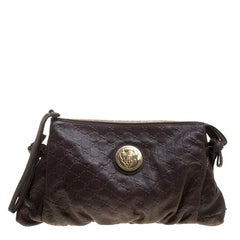 Gucci Brown Guccissima Leather Large Hysteria Clutch