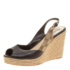 Gucci Brown Leather and GG Canvas Slingback Espadrille Wedge Sandals Size 41