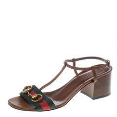 Gucci Brown Leather Horsebit Web Stripe Detail T Strap Sandals Size 37
