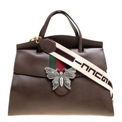 Gucci Brown Leather Large Linea Totem Top Handle Bag