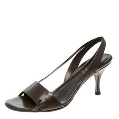 Gucci Brown Leather Open Toe Slingback Sandals Size 35