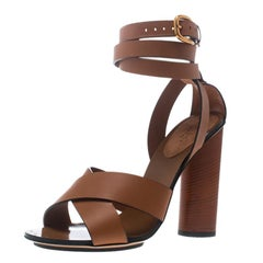 Gucci Brown Leather Strappy Sandals Size 37.5