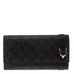 Gucci Dark Brown GG Supreme Canvas Nice Continental Wallet