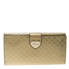 Gucci Gold Guccissima Patent Leather Heart Continental Wallet