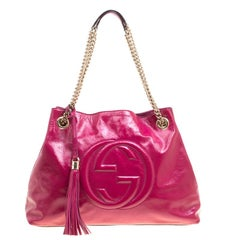 Gucci Fuchsia Patent Leather Medium Soho Tote