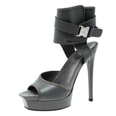 Gucci Grey Leather and Fabric Trim Gail Ankle Cuff Platform Sandals Size 37