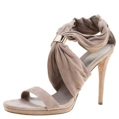 Gucci Grey Suede Carrie Open Toe Platform Sandals Size 40.5