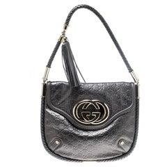 Gucci Metallic Grey Leather Medium Britt Tassel Hobo