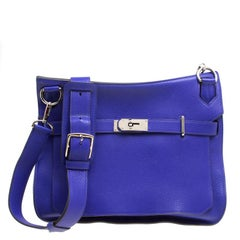 Hermes Blue Clemence Leather Jypsiere 34 Bag
