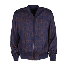 Gucci Navy Blue Horse Printed Silk Zip Front Bomber Jacket M