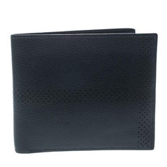Hermes Blue Orage Leather Perforated Detail Bifold Wallet