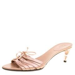 Gucci Pale Pink Satin Slides Sandals Size 39