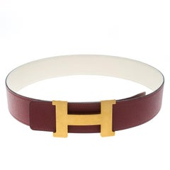 Hermes Bordeaux/Off White Epsom Leather Reversible Constance Belt 85cm