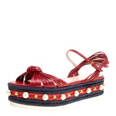 Gucci Red Leather Barbette Knot Faux Pearl and Spikes Trim Ankle Strap Espadrill