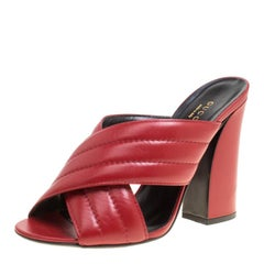 Gucci Red Leather Sylvia Crossover Mules Size 39.5
