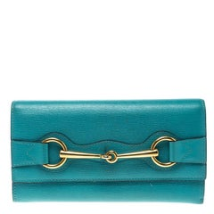 Gucci Turquoise Leather Horsebit Continental Wallet