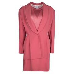 Herve Leger Vintage Pink Mesh Top Skirt and Blazer Set XL
