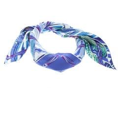 Hermes De La Mer Au Ciel Blue Printed Silk Square Scarf