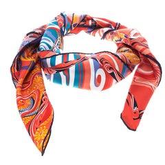 Hermes De La Mer Au Ciel Multicolor Printed Silk Square Scarf