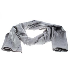 Hermes Grey Faconnee Grand H Pattern Silk and Wool Scarf
