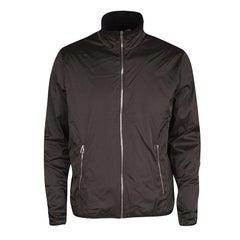 Hermes Grey Nylon Zip Front Polar Warm Up Jacket XL