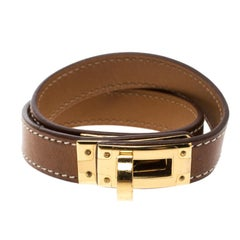 Hermes Kelly Brown Leather Gold Plated Double Tour Bracelet