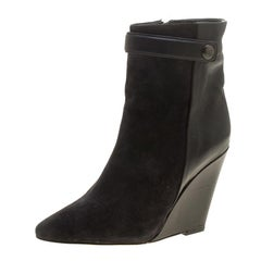 Isabel Marant Black Suede and Leather Purdey Wedge Heel Ankle Boots Size 36