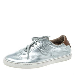 Hermes Metallic Silver Leather Quicker Sneakers Size 40
