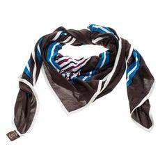 Hermes Multicolor Quadrige Printed Silk Jersey Scarf