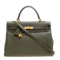 Hermes Olive Green Togo Leather Gold Hardware Kelly Retourne 35 Bag