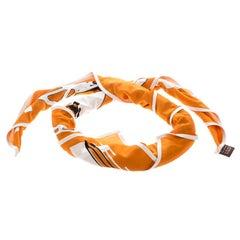 Hermes Orange Caleche Elastique Printed Silk Jersey Square Scarf