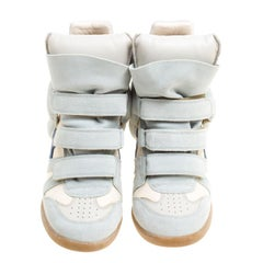 Isabel Marant Mint Blue/Beige Suede and Canvas Bekett Wedge Sneakers Size 40