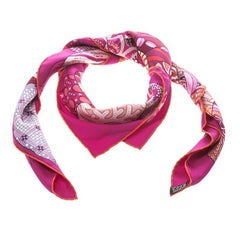 Hermes Pink Fleurs D'Indiennes Printed Silk Square Scarf