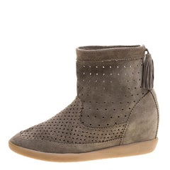 Isabel Marant Moss Green Perforated Suede Basley Ankle Boots Size 40