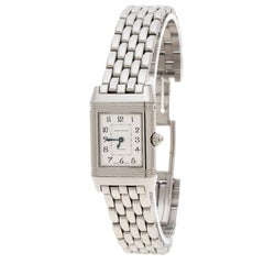 Jaeger LeCoultre White/Mother of Pearl Stainless Steel Diamonds Reverso Classic