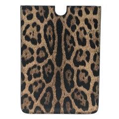 Dolce and Gabbana Brown Leopard Print PVC iPad Case