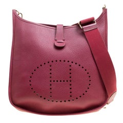 Hermes Ruby Clemence Leather Evelyne III GM Bag