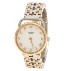 Hermes White 18K Yellow Gold Plated And Stainless Steel Arceau Women's Wristwatc