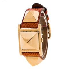 Hermes White Gold-Plated Stainless Steel Medor Women's Wristwatch 23MM
