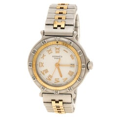 Hermes White Stainless Steel And Gold Tone Captain Nemo Women's Wristwatch 27 mm