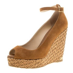 Jimmy Choo Beige Suede Pacific Peep Toe Ankle Strap Cork Wedge Pumps Size 36.5