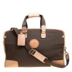 Lancel Brown Nylon Weekender Travel Bag