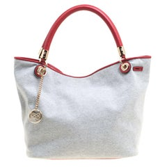 Lancel Grey Fabric French Flair Tote