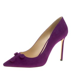 Jimmy Choo Madeline Purple Suede Jasmine Button Embellished Pointed Toe Pumps Si