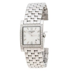 Longines White Mother of Pearl Stainless Steel Diamond Dolcevita Wristwatch