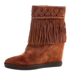 Le Silla Brown Suede Concealed Fringed Wedge Boots Size 38.5