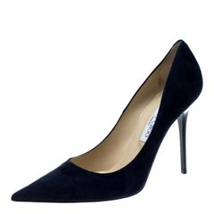 Jimmy Choo Navy Blue Suede Abel Pointed Toe Pumps Size 41