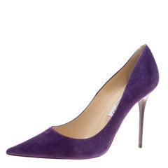 Jimmy Choo Purple Suede Abel Pointed Toe Pumps Size 41