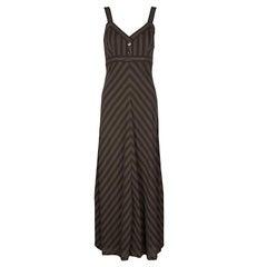 Loewe Brown Chevron Striped Sleeveless Maxi Dress M